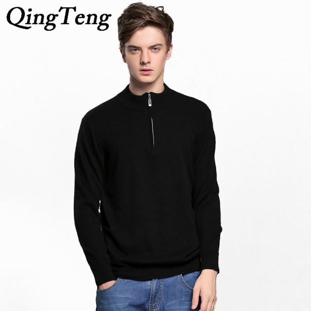 QingTeng Roupas de Lã Camisola Homens Zip Inverno Quente 100 Pure Cashmere Sweater Homens Brnad Zíper Pulôver Masculino