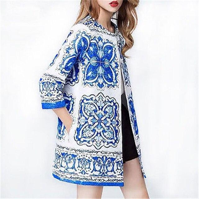 Женщины С Длинным Рукавом Осень бело-голубой фарфор Кардиган Шерсть Куртки И Пиджаки Пальто