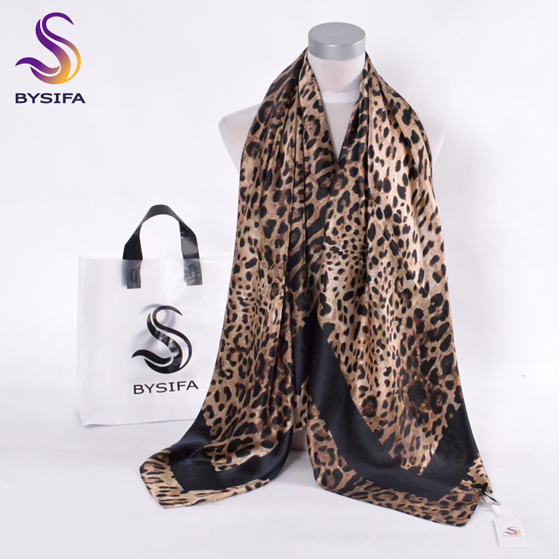 [BYSIFA] Kaffe svart Leopard Print Square Scarves Printed 2016 Ny Design Crepe Satin Silk Winter Ladies Scarves Wraps 130 * 130cm