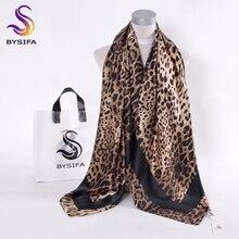 BYSIFACoffee black Leopard Print Square Scarves Printed 2016 New Design Crepe Satin Silk Winter Ladies Scarves Wraps 130*130cm