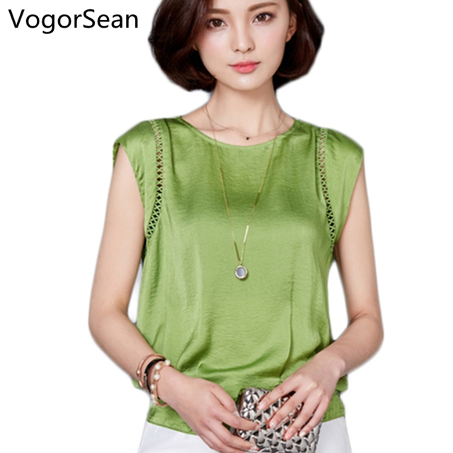 VogorSean Women Blouse Shirt Short Sleeve Chiffon Loose Blouses Clothing Summer Female Plus Size O Neck Blusas Tops For Work