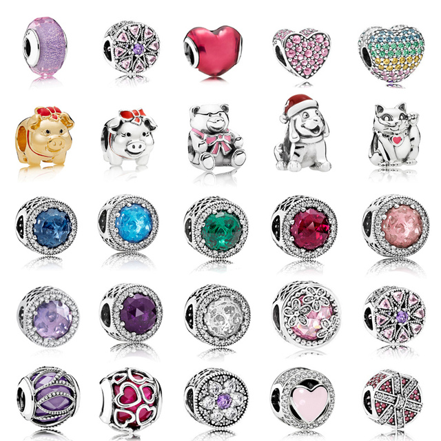 925 Sterling Silver Multi Style Heart Beads Fit Pandora charms silver 925 Original Bracelets Silver 925 Valentine's Day Jewelry
