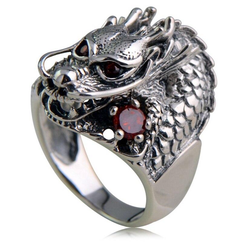 925 Sterling Silver Retro China Dragon Head Garnet Ring Men Thai Silver Fine Jewelry Gift Finger Ring CH023021