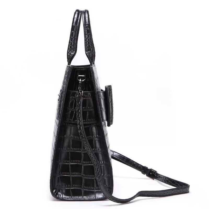 Fermeture Grand Main Crocodile Noir En Véritable À Cuir Motif Zipper Designer Dame Haut poignée Féminin Sac Bandoulière Luxe De Femmes OTq488