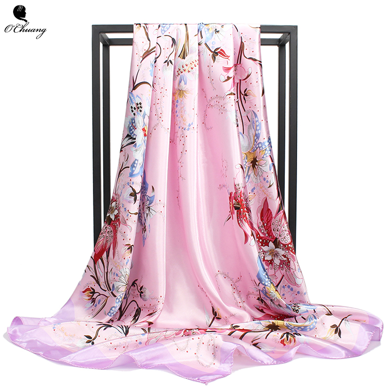 O CHUANG Silk   Scarf   Women Spring Summer Flowers Printe Cheveux Hijab Shawl Scarfs Square Head   Scarves     Wraps   90x90cm