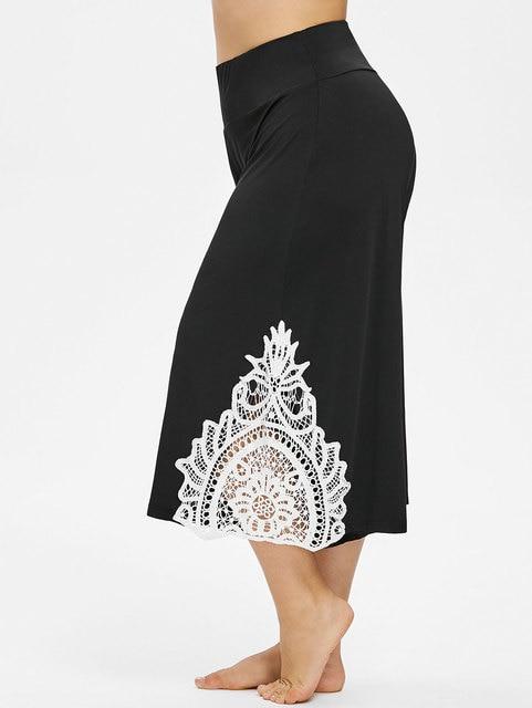 595ee9e7046 Plus Size 4XL Lace Trim Wide Leg Capri Pants Summer Loose Lace Panel High  Waist Palazzo