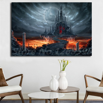 Gothic Castle Dark Moon Raven Wallpaper Canvas Posters Prints Wall Art
