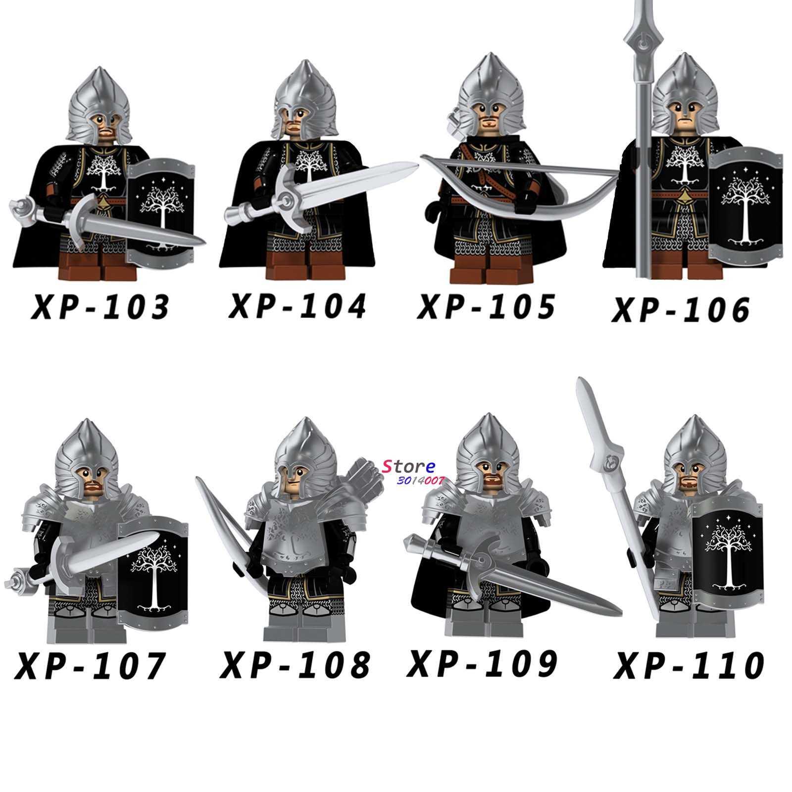 Único cavaleiro medieval senhor dos anéis de gondor lança arqueiro espada modelo blocos de construção tijolos brinquedos
