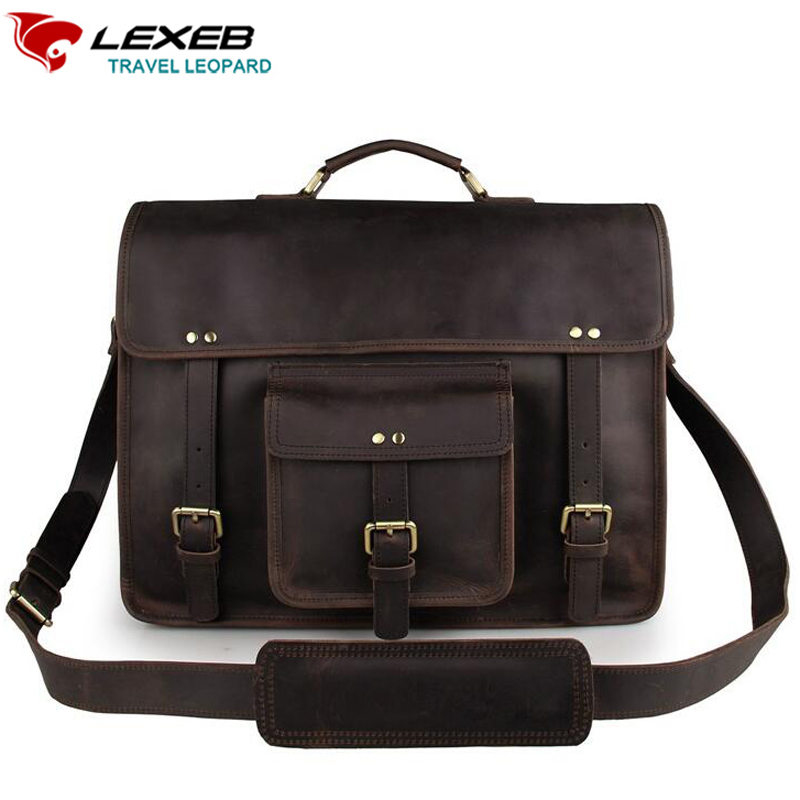все цены на LEXEB Brand Vintage Classic Briefcase Genuine Natural Leather Business Travel Bag 15 Inch Laptop Luxury Design Flap Bags Dark онлайн