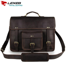 LEXEB Luxury Brand Designer Men Leather Business Laptop Bag 15 Craze Horse Shoulder Bags High Quality Dark Briefcase cartable