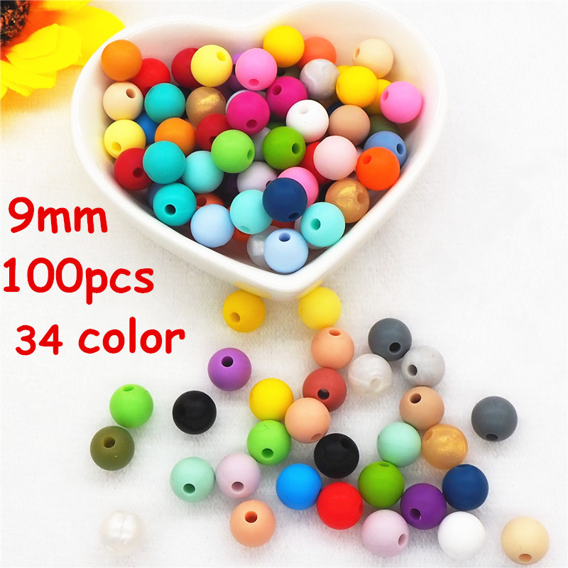 Chenkai 100pcs 9mm Silicone Teether Beads DIY Baby Rattle Teething Pendant Dummy Pacifier Sensory Jewelry Toy Making Beads