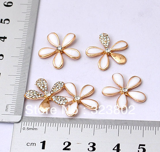 3D Alloy Windmill Flower White Black for Option Rhinestone Decoration DIY Charm Supplies Handmade Case Accessories 1 SET
