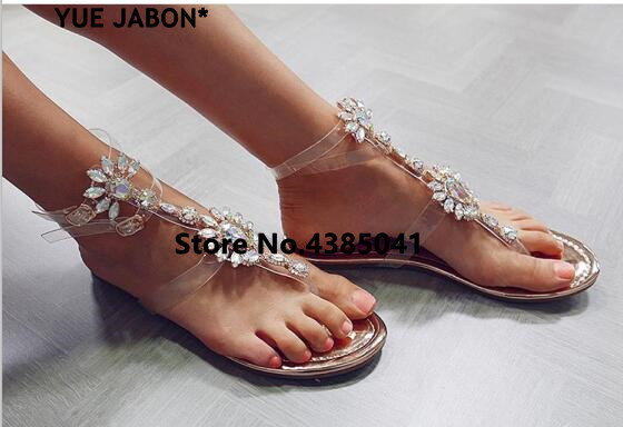 HTB1FXqjAf5TBuNjSspcq6znGFXav 2019 shoes woman sandals women Rhinestones Chains Flat Sandals Thong Crystal Flip Flops sandals gladiator sandals 43 free ship