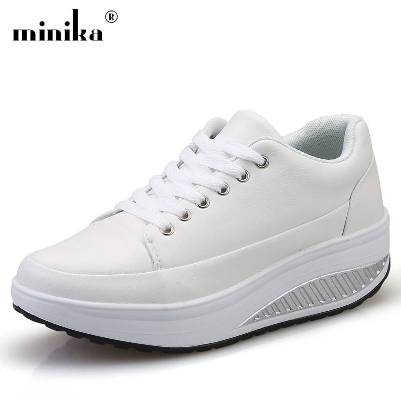 Minika White Platform Sneakers Women Casual Shoes Female Superstar Breathable Wedge Swing Slimming basket femme Tenis Feminino minika top quality women s fashion slimming platform shoes casual canvas travel shoes woman fitness lady swing shoes femme