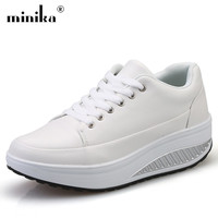 Minika White Platform Sneakers Women Casual Shoes Female Superstar Breathable Wedge Swing Slimming basket femme Tenis Feminino