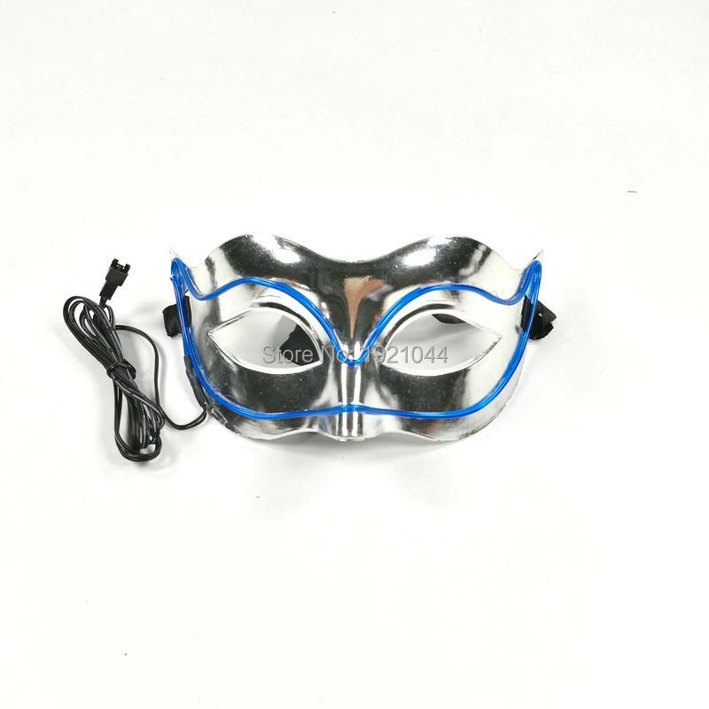 Lighting Color Blue 1Pieces Free Shipping Neon Cold Light Mask EL Wire Glowing Mask Powered by 2AAA Batteries