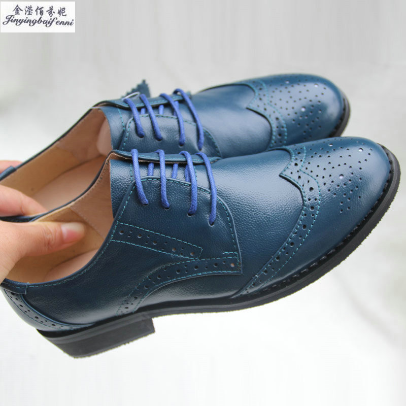 Vintage Flats Genuine Leather Fashion Single Shoes Women s Navy Blue  Oxfords Shoes Brockden Women s Shoes Lace up Lovers Shoes-in Women s Flats  from Shoes ... cf583d20e547