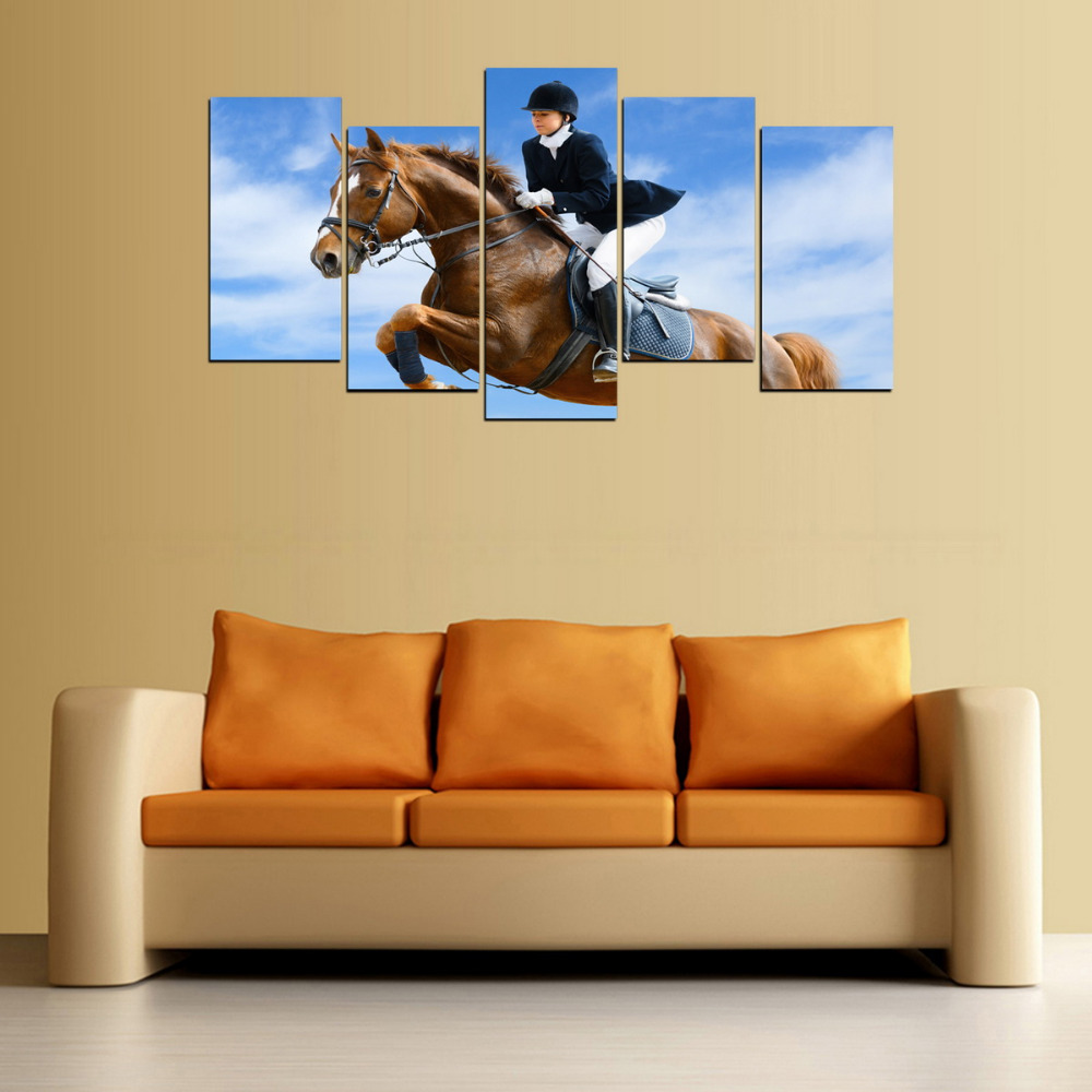 5 Panels Canvas Print Horse Riding Painting for Living Room Wall Art ...