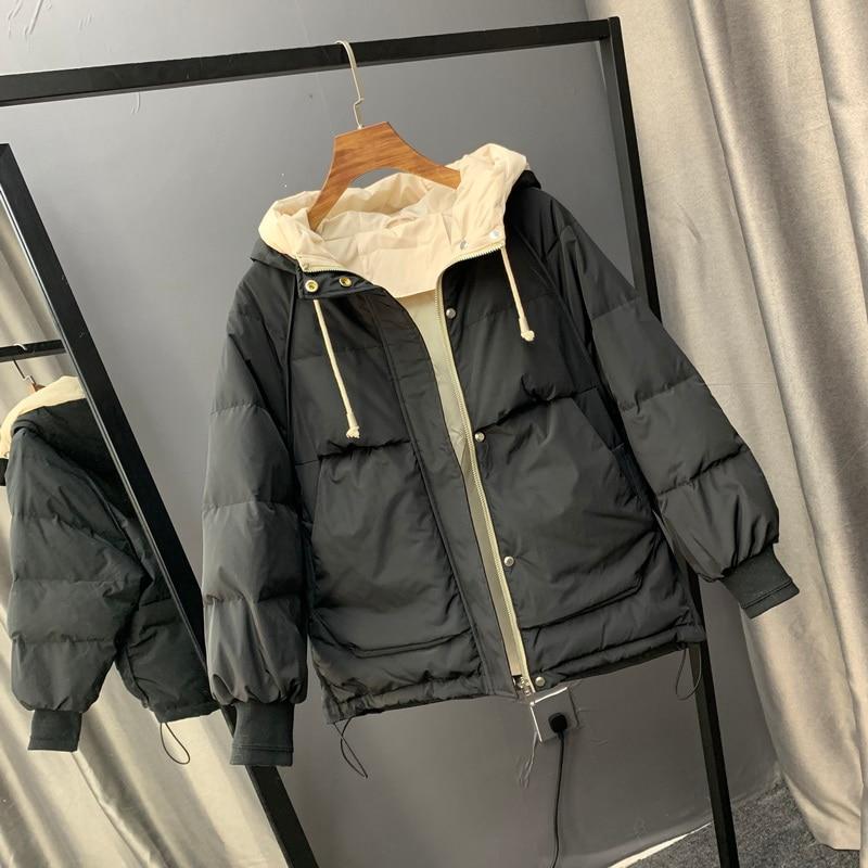 2019 New Fashionable Women Down Cotton Jacket Short Hooded Coat Winter Jacket Women Cotton Padded Jacket Coat Female Thick   Parka