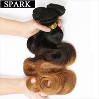 Spark Brazilian Remy Hair Body Wave 1PC Ombre Color 1b 4 27 Hair Bundles 100 Human