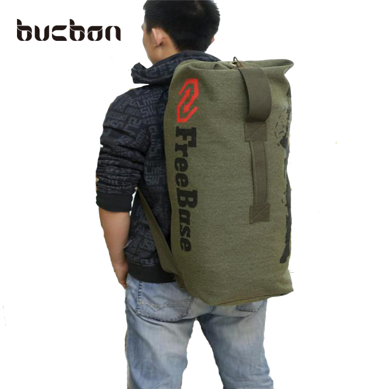 Bucbon Sturdy Canvas Outdoor Travel Luggage Army Bag Camping Hiking Rucksack Women Men Military Tactical Backpack Mochila HAC016