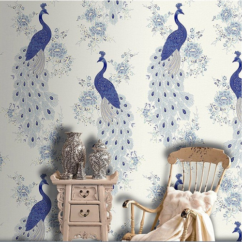 Classic Blue Peacock Mural Wallpaper Decorative Wall bedroom papel de parede 3d цена 2017