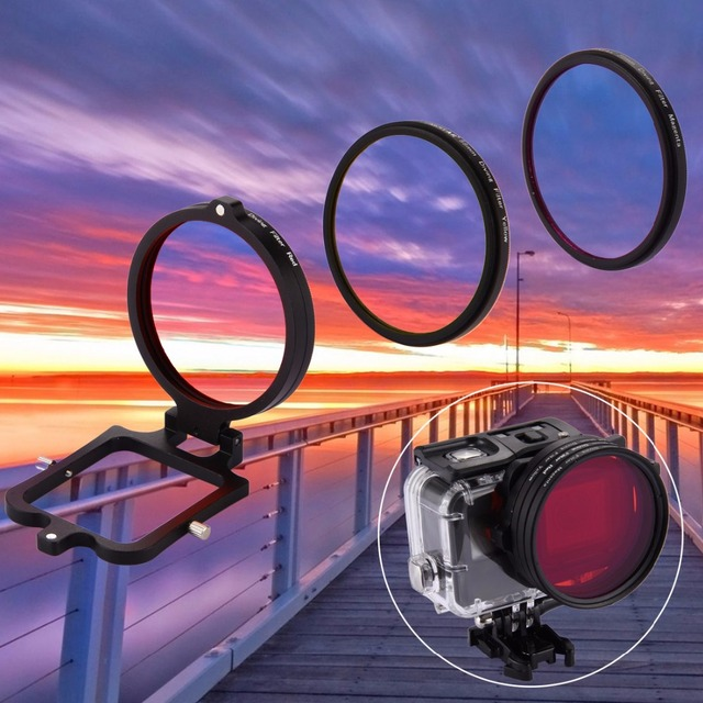 58mm Yellow Red Purple Diving Lens Filter For GoPro HERO5 Hero 5 High Quality