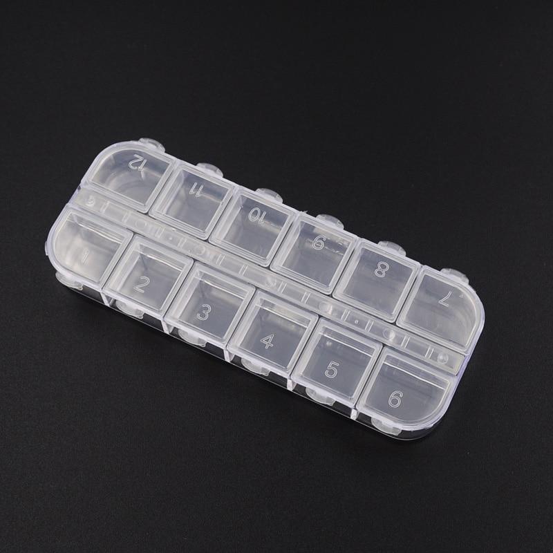 12 Grid Empty Nail Art Plastic Box Case Storage Container For Rhinestones Storing False Glitter Rhinestones Shiny Sheets
