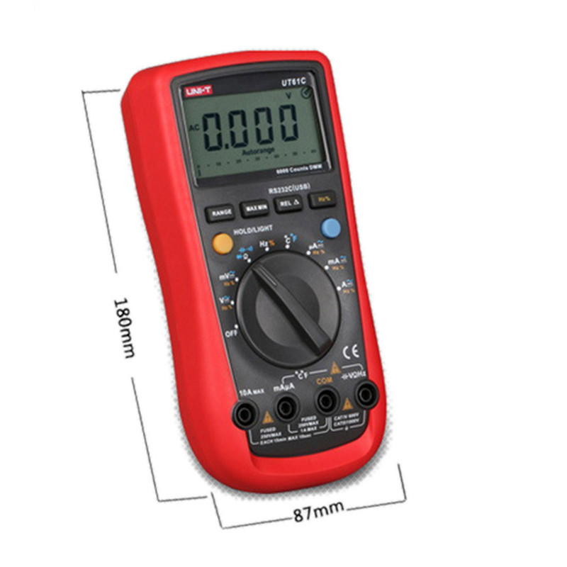 UNI-T UT61E 22000 Counts True Rms Digital Multimeter AC/DC Voltage Current,Resistance,Capacitance Tester with one more test lead ad637 precision broadband ac true rms peak voltage detection module