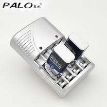 4 ranuras de indicador led del cargador para aa/aaa 9 v NiCd NiMh Baterías + 2 unids 9 v 300 mah nimh recargable baterías