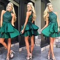 Luxury Robe De Cocktail Dresses 2016Tiered Ruffles Appliques Tulle Vestidos De Coctel Party Gowns For Wedding Party