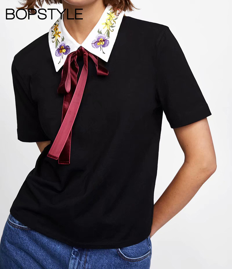 Fall 2018 Ladies Black Patwork Embroidered Neckline T-Shirt Top Features Contrast Neck With Contrast Bow Ties - Women Tee Shirts
