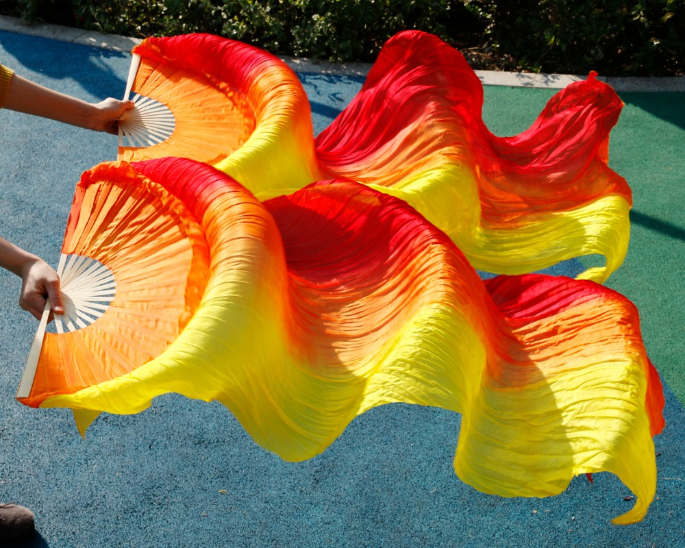 Hits 2016 High Selling Women Quality Silk Belly Dance Fan Dance 100% Real Silk Veils 1 Pair   Red+orange+yellow