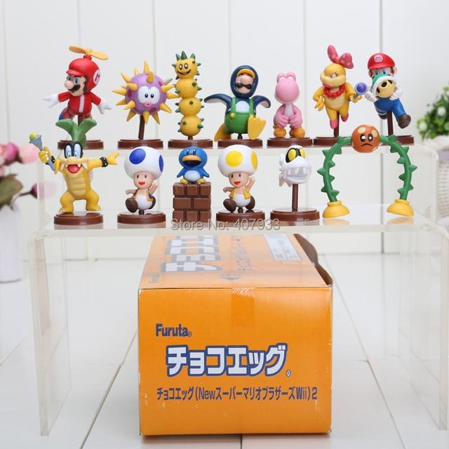 Super Mario 6cm 1Set=13pcs Super Mario Bros Wii 2 Collection Toy Figures new in box Gift retail