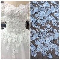 La Belleza 1 yard Off white 3D flowers fashion wedding/ evinging dress lace fabric