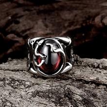 Men's Stylish Vintage Titanium Steel Punk Skull Biker Ring Jewelry US Size 7-13