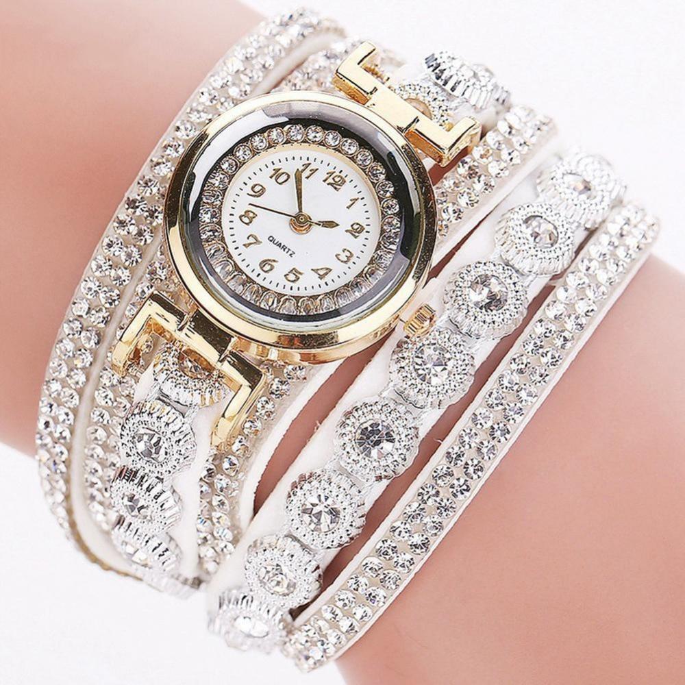 все цены на  Brand Fashion Luxury Rhinestone Bracelet Watch Ladies Quartz Watch Casual Women Wristwatch Relogio Feminino C43  онлайн