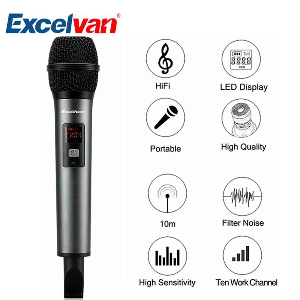 Excelvan K18-V Professional Bluetooth Microphone Wireless Light-in-weight with Receptor Support APP For Home Entertainment excelvan k38 dual wireless microphones with receiver box various frequency high end microphonfor home entertainment conference