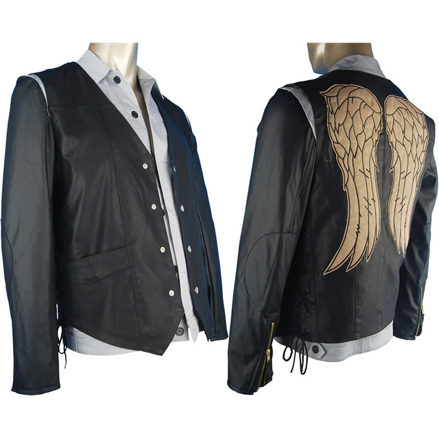 The Walking Dead Daryl Dixon cosplay costume jacket vest w/ Angel's wings TV costumes halloween costume  boys men