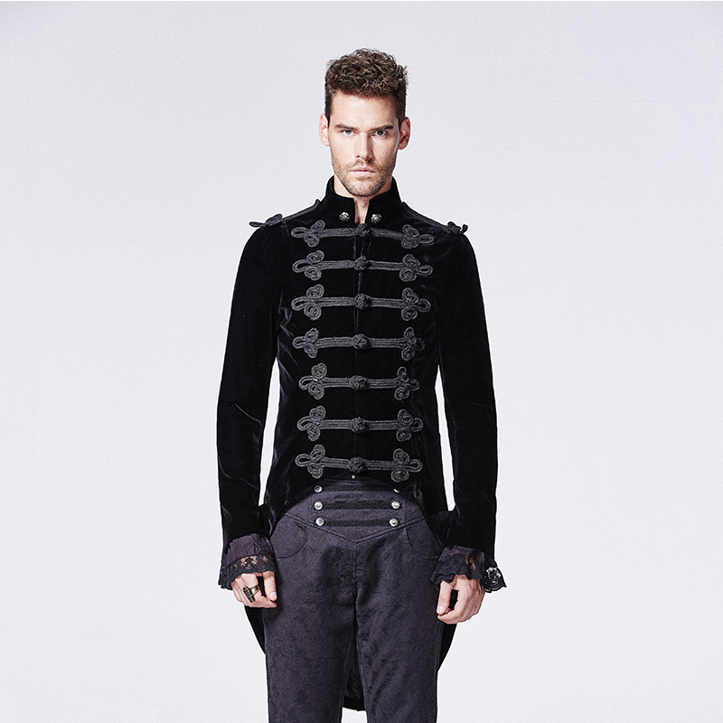 Gothic Black Noblemen Tailcoat with Chinese Button Knot Victorian Era Historical Alternative Swallow Tail Men Velvet Coats button up tailcoat