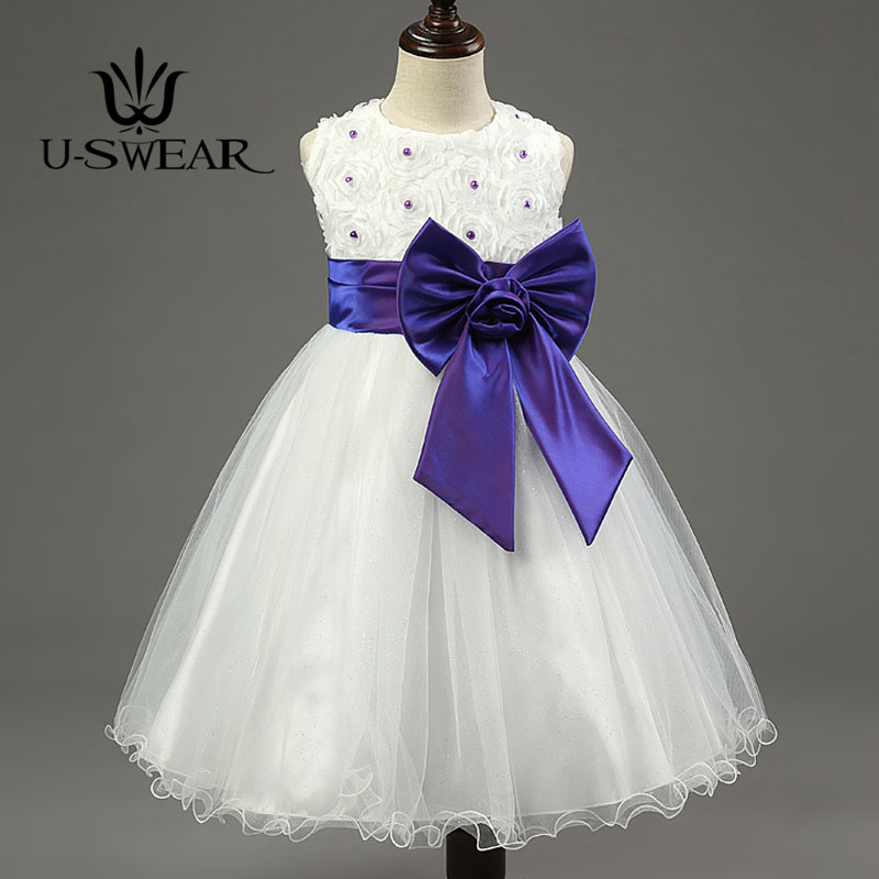 U-SWEAR 2019 New Arrival Kid   Flower     Girl     Dresses     Flower   Lace O-neck Sleeveless Pearls Beaded Chiffon Ball Gown Pageant   Dresses