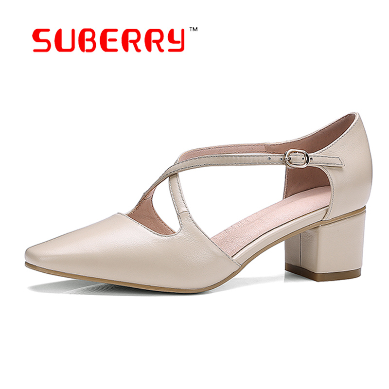 SUBERRY Vintage Women Medium Heel Shoes Square Toe Genuine Leather Single Shoes Four Seasons Pumps Black Apricot Big Size 9 selens pro 100x100mm 12nd square medium