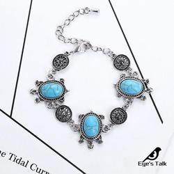 Синий элегантный браслет Модный старинное серебро Цвет черепаха Камень регулируемые Размеры цепь браслет для девочек Подарочная