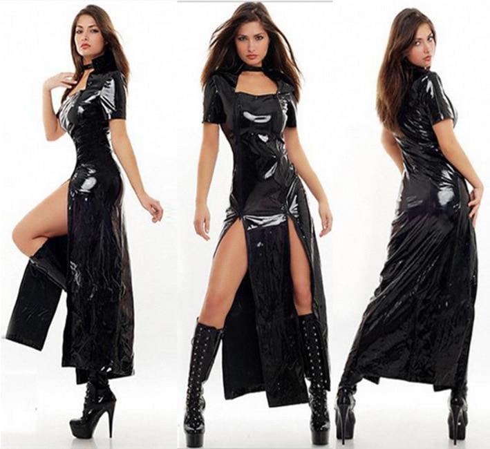 Haut de gamme PVC femmes Sexy Clubwear en cuir Latex Capes body Look humide PU Bondage Zipper longue robe DS chanteur Pole danse Catsuit