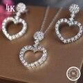 Nova Marca CC Puro 925 Esterlina Conjunto de Jóias de Prata Para mulheres Do Amor Do Coração Colar de Prata Grande Festa Brinco Jóias Finas jóias