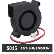 10PCS Gdstime DC 12V Ball Bearing 2Pin 50mmx15mm Black Brushless Cooling Blower Fan 5015 high quality 40x10mm 12v 0 15a black brushless dc cooling blower fan