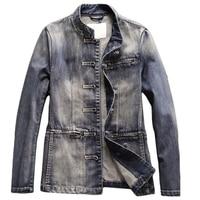 Китайский Стиль традиционные Для мужчин куртки джинсы пальто 2018 ковбой Для мужчин костюм платье джинсовая куртка уличная плюс Размеры 3XL