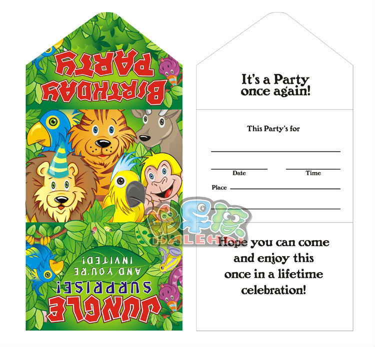 20pcs jungle party birthday party invitation card for childrens 20pcs jungle party birthday party invitation card for childrens shower free shipping stopboris Choice Image