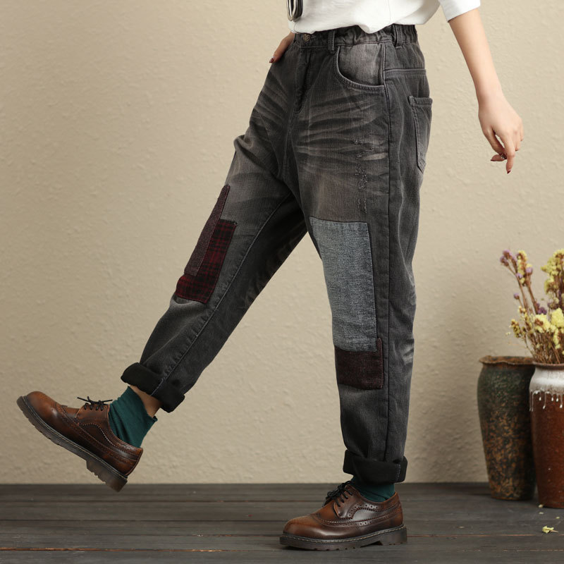 Denim Pants 2017 Patchwork Blanqueado Engrosamiento Femenino Para Pantalones Invierno Fleece Vaqueros Faux 01 G101702 Forrado Damas Harem ZnvwA4