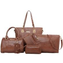6pcs Women Handbag Set Leather Luxury Shoulder Crossbody Bags Messenger Bag Ladies Clutch Purse Handbags Coffee Composite Bag цена 2017